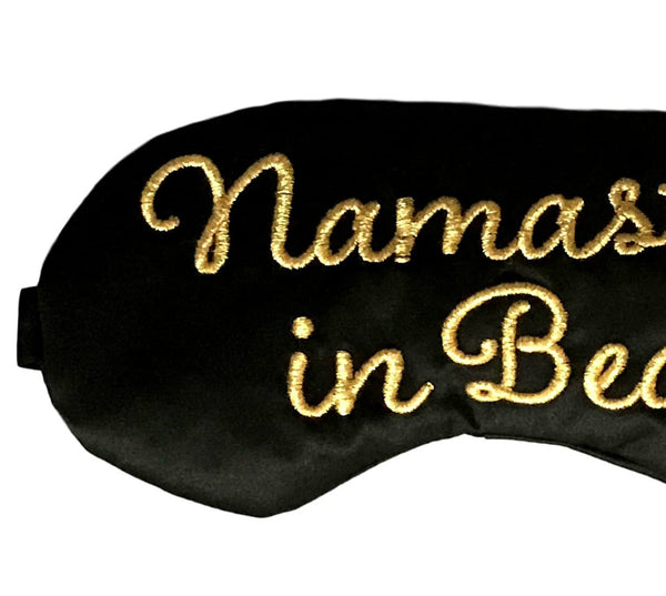 Namast'ay in Bed Sleep Mask in Black and Gold Satin Eye Mask