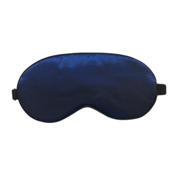 SILK SLEEP MASK IN NAVY BLUE WITH ADJUSTABLE STRAP
