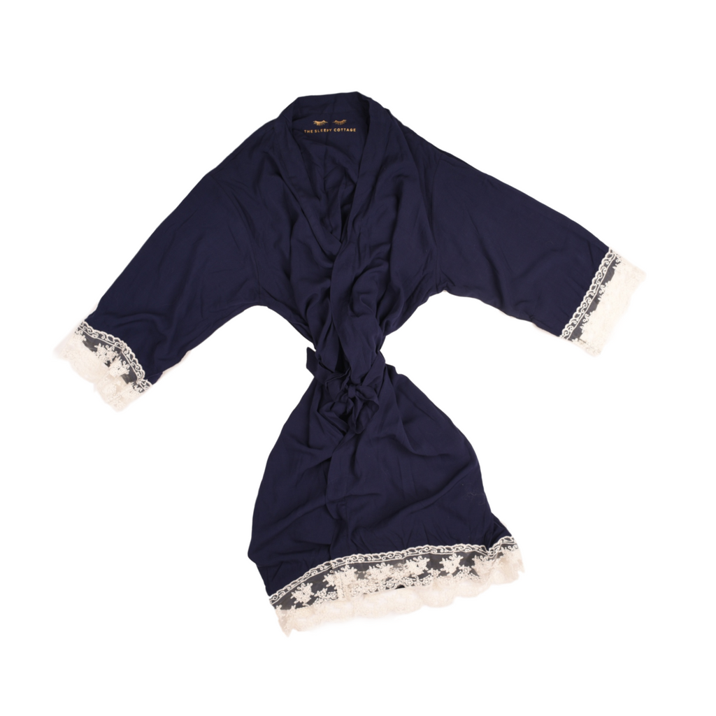 LACE TRIMMED COTTON KIMONO IN NAVY