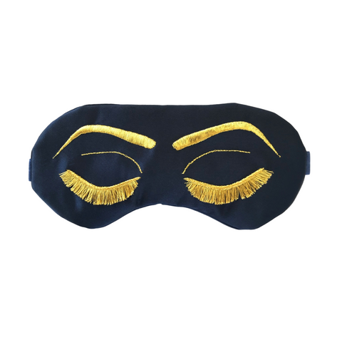 Navy Blue with Gold Eyelashes Vintage Glam Sleep Mask