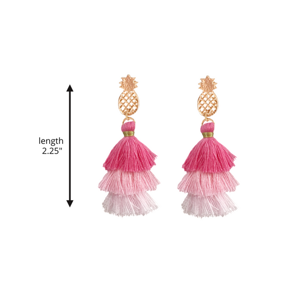 Pineapple Pagoda Tassel Stud Earrings