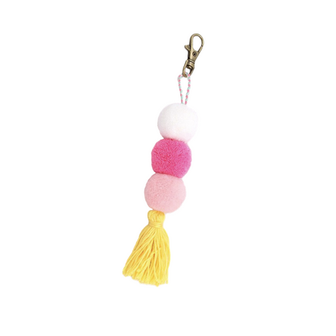 Pink and Yellow Pom Pom Keychain and Bag Charm