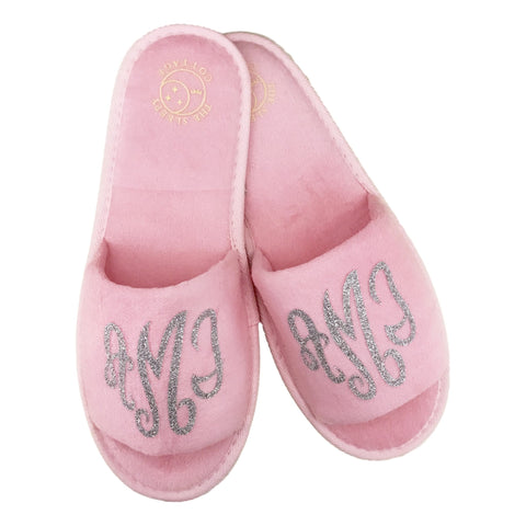 PINK MONOGRAM SLIPPERS