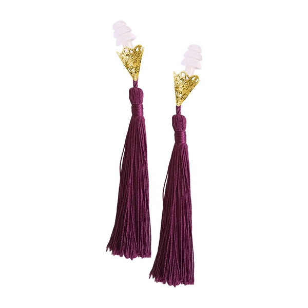 BREAKFAST AT TIFFANY'S INSPIRED PURPLE TASSEL SLEEPING EARPLUGS