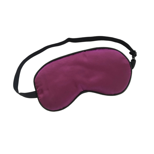 SILK SLEEP MASK IN PLUM WITH ADJUSTABLE STRAP