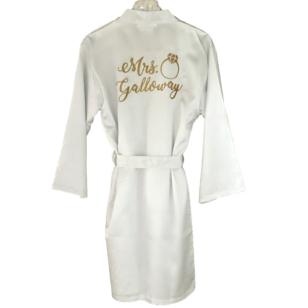 PERSONALIZED SATIN KIMONO ROBE - BACK VIEW