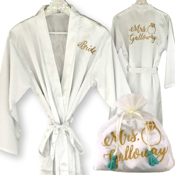 PERSONALIZED SATIN KIMONO WITH TRAVEL BAG
