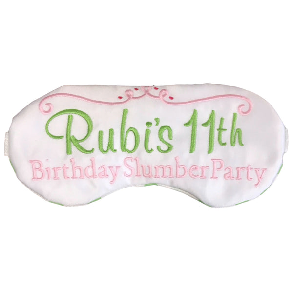 Custom Birthday Slumber Party Favors Sleep Masks Personalized in Pink and Green - Sleep Mask