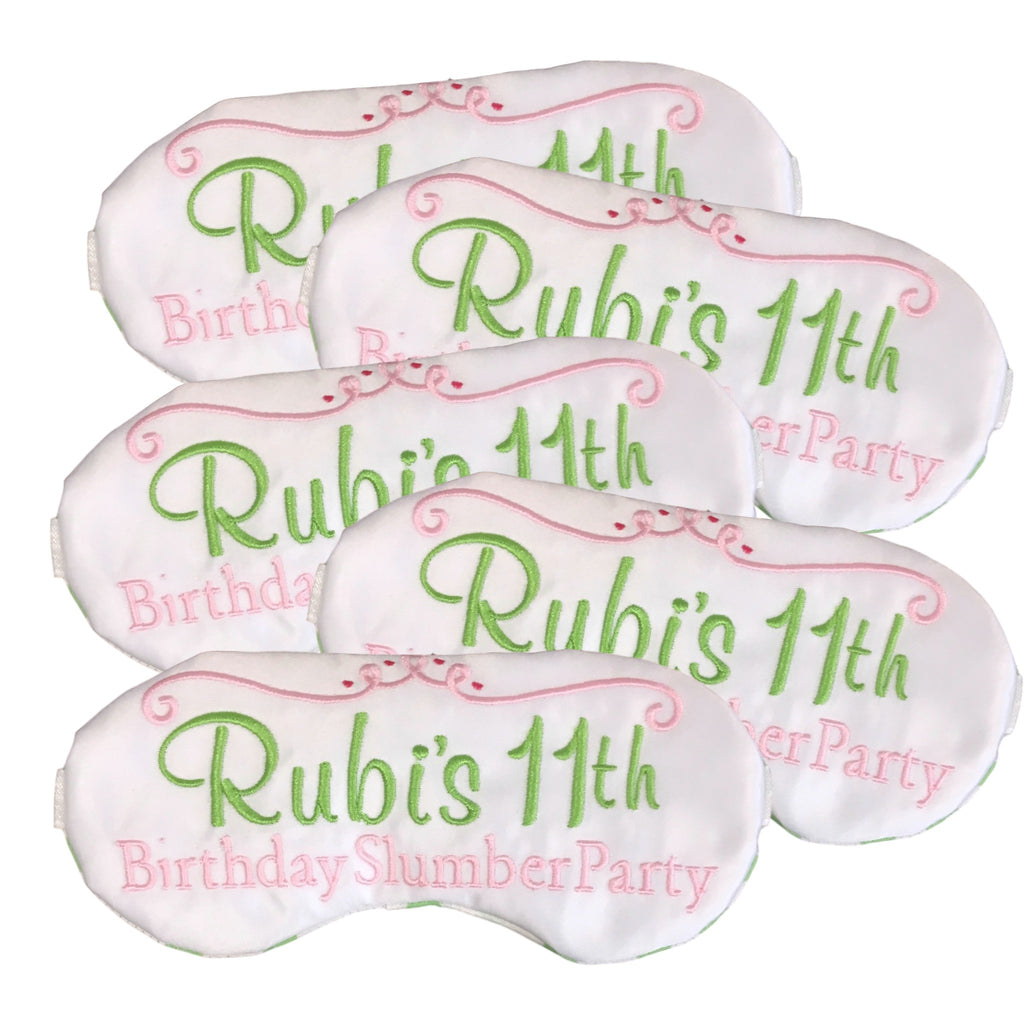 Personalized Birthday Slumber Party Sleep Masks
