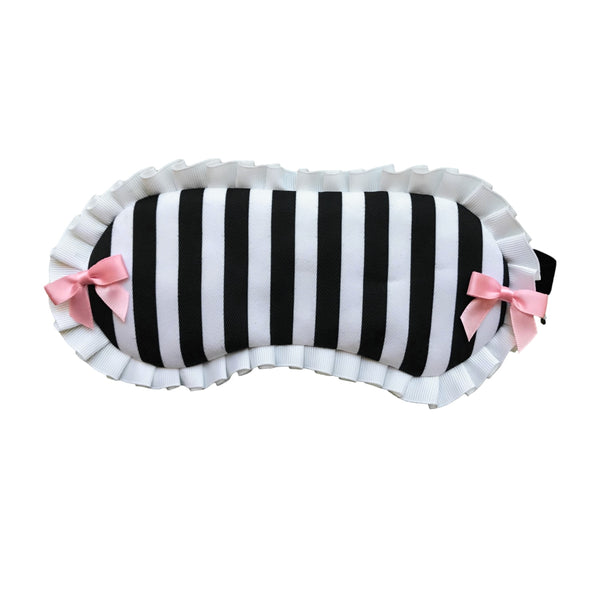 Chic Striped Sleep Mask with pleated trim