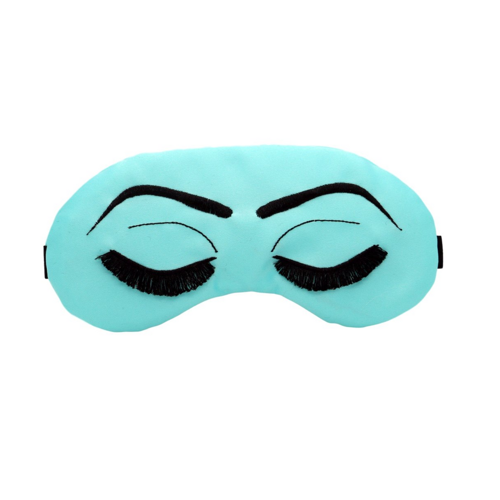 Robin's Egg Blue with Black Vintage Glam Eyelashes Sleep Mask