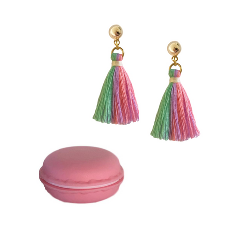 UNICORN TASSEL EARRINGS WITH MACAROON GIFT BOX