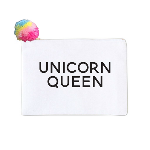 Unicorn Queen Pom Pom Canvas Makeup Bag