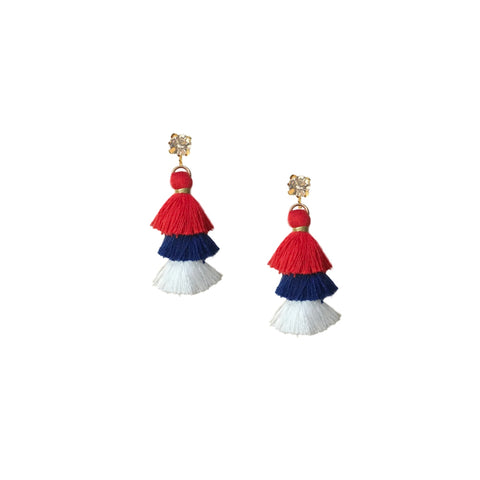 Patriotic Mini Pagoda Tassel Earrings