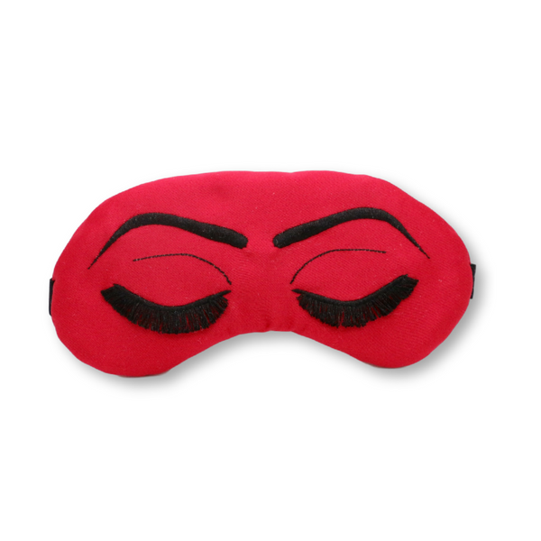 Red with Gold or Black Eyelashes Vintage Glam Sleep Mask