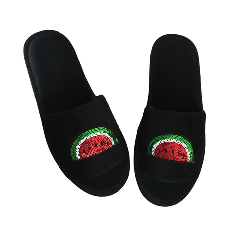 Sequin Watermelon Slippers