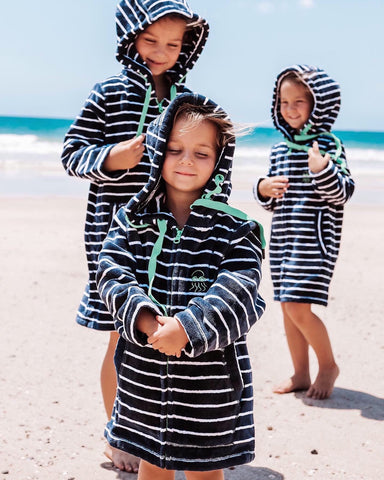 The Quinn Girls wear Swoodi hooded beach robes
