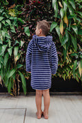 Back view of baby and toddler beach robe in navy