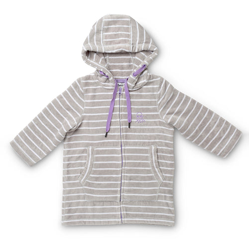 Flay lay of grey with purple adults swim hoody