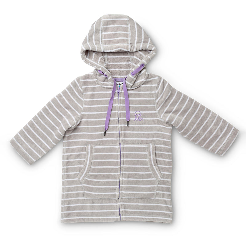 Swim hoodie grey with purple flay lay