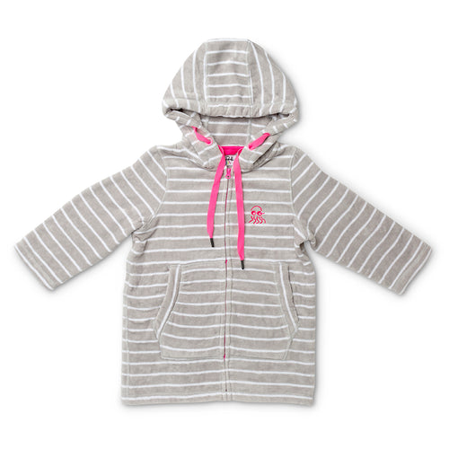 Flay lay of baby zip up towel grey with pink
