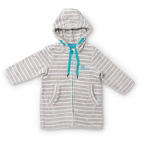 Swim Hoodie Grey with Blue Trims - Adult