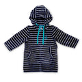 Flay lay of baby and toddler navy hooded swim towel