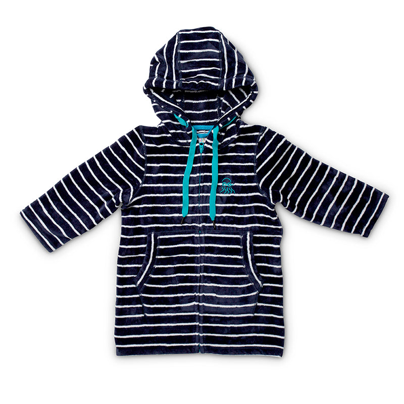 Swim Hoodie Navy with Blue Trims