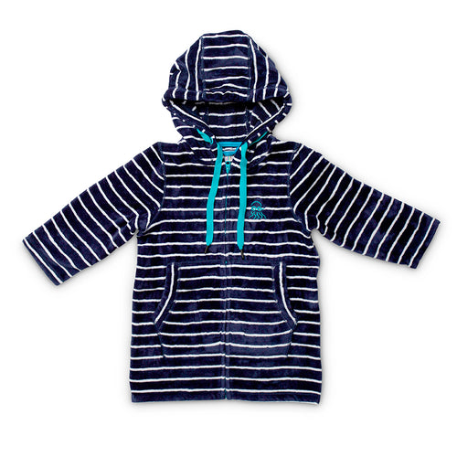Swim Hoodie Navy with Blue Trims - Adult