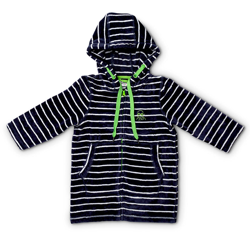 Swim Hoodie Navy with Green Trims - Adult