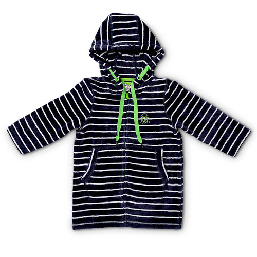 Flat lay of baby and toddler navy with green swimming robe