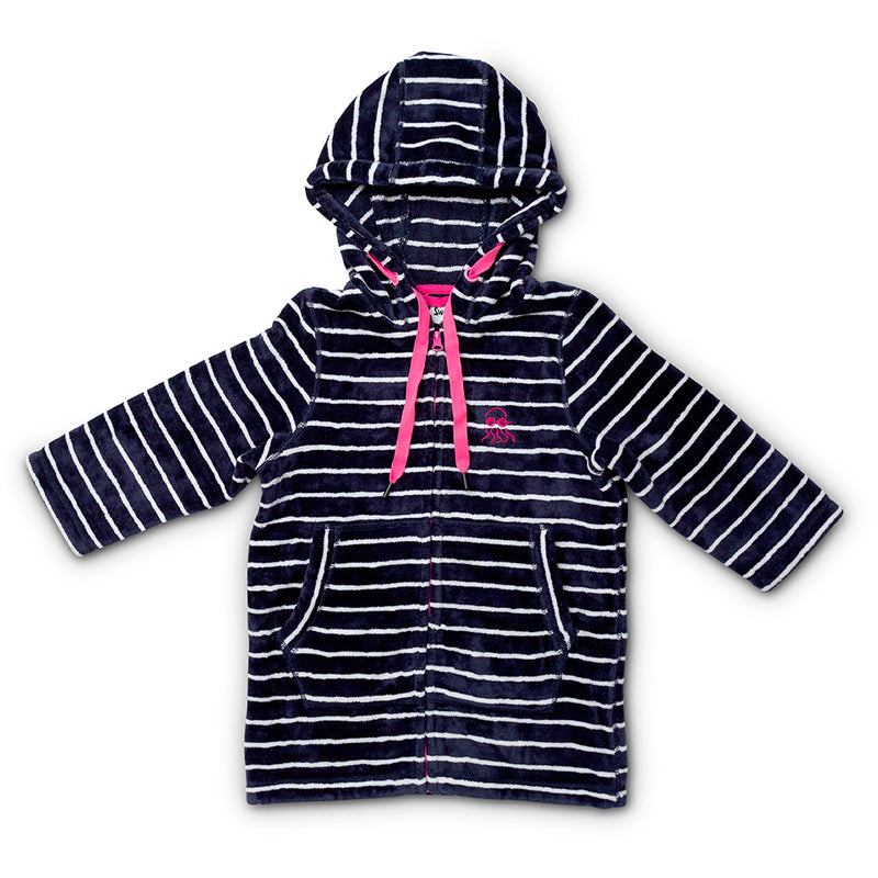 Flat lay of navy with pink swim hoodie