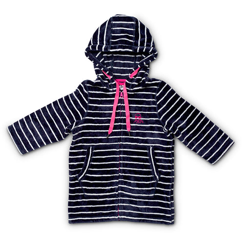 Flat lay of baby and toddler hooded swim towel navy with pink trims