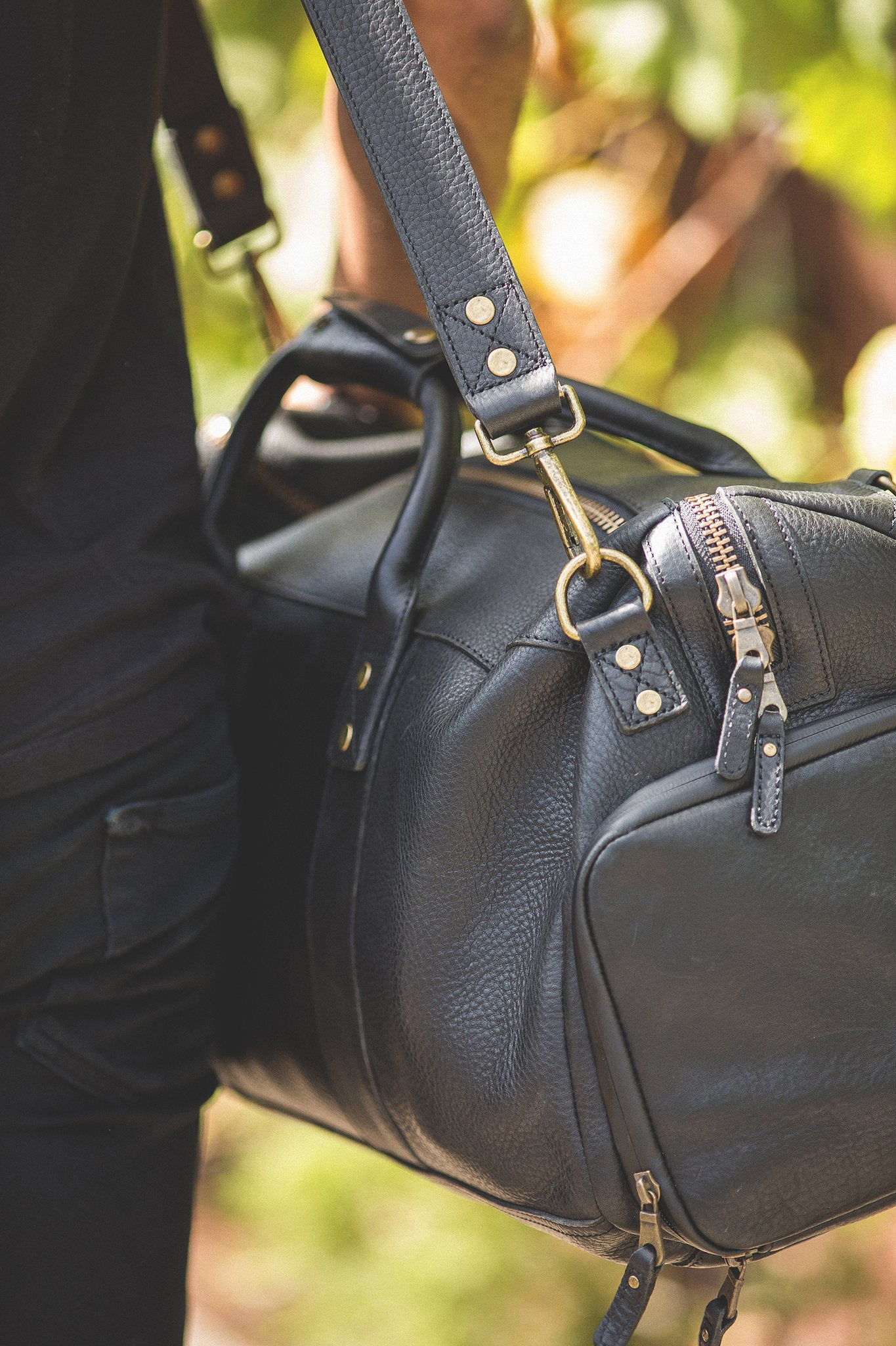 Atticus leather duffle.