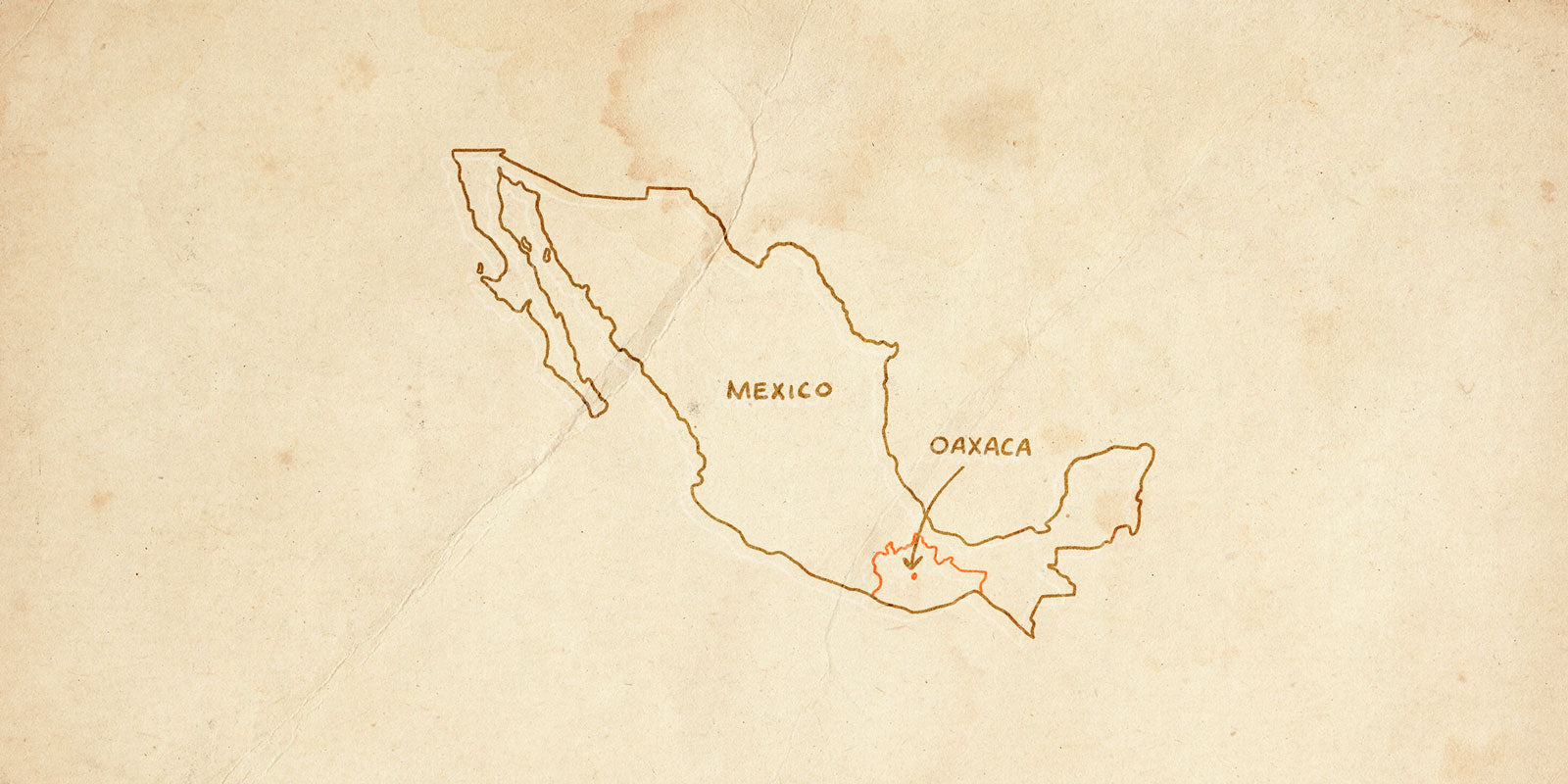 hand drawn map of mexico oaxaca