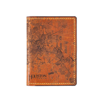 Houston City Engraved Design Passport Case Front