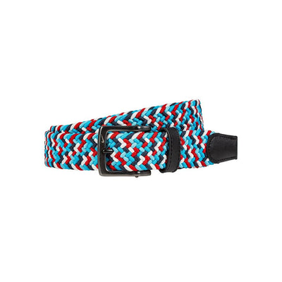 NIKE Men's Multi-Color Stretch Woven Belt Belt WillLeatherGoods 32 Obsidian/Red/White/Blue