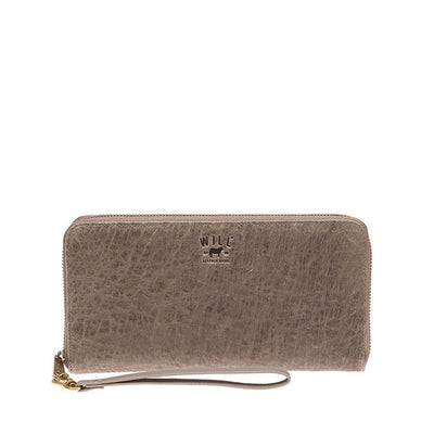 Imogene Checkbook Clutch Wallet WillLeatherGoods Grey