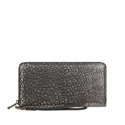 Imogene Checkbook Clutch Wallet WillLeatherGoods Pewter