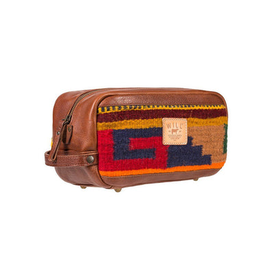 Leather Oaxacan Travel Kit with Red Blue and Gold