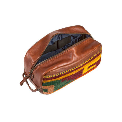 Leather Oaxacan Travel Kit Open Zip with Interior