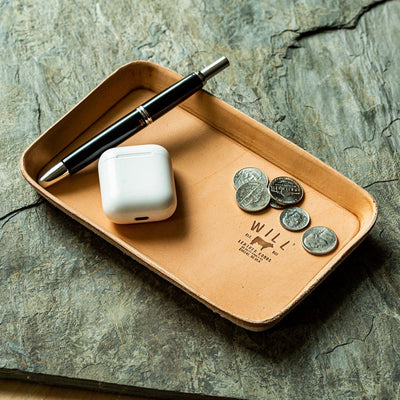 Natural Leather Tray Office WillLeatherGoods
