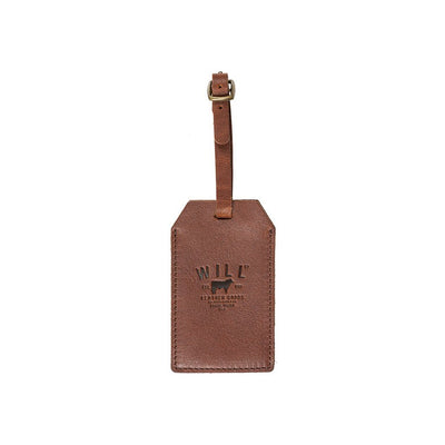 cognac Signature Leather Luggage Tag