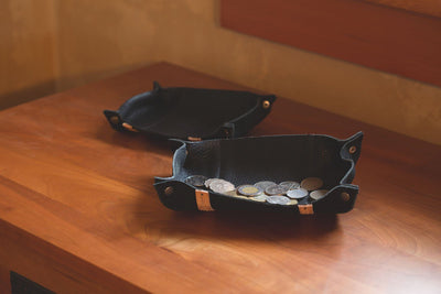 Black Leather Tray full of Coins