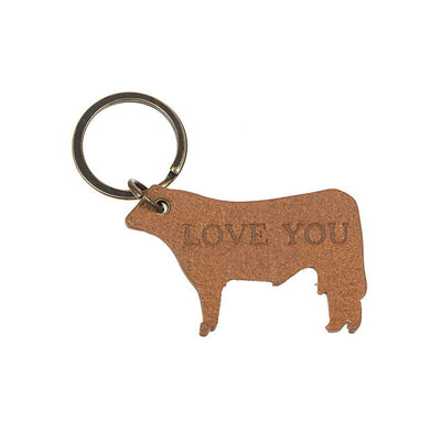 Back of Cow Keychain Debossed with Love You