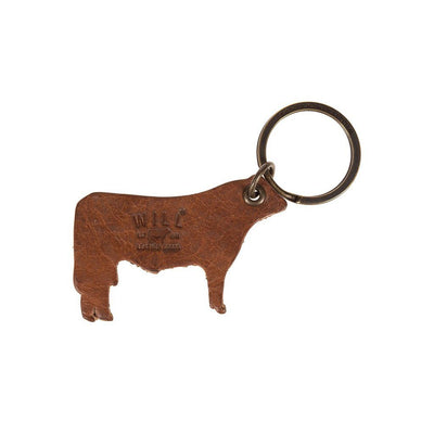 Tan Cow Shaped Keychain with Debossed Will Logo