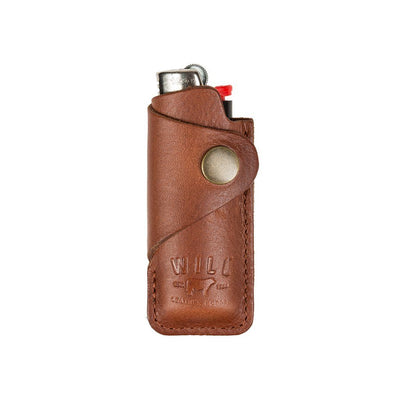 Signature Leather Lighter Cover Office WillLeatherGoods Cognac