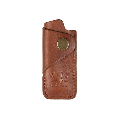 Signature Leather Lighter Cover Cognac without lighter