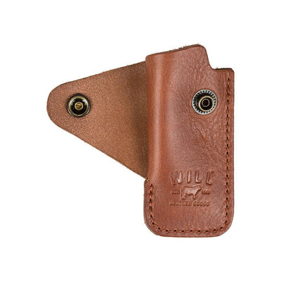 Signature Leather Lighter Cover Cognac unsnapped