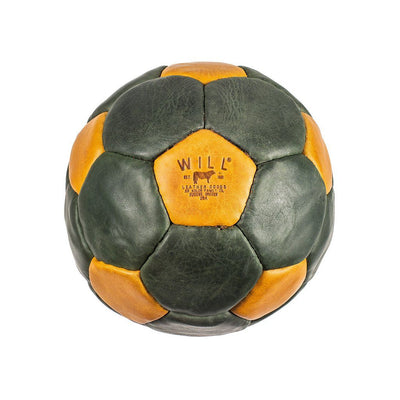 Leather Soccer Ball Sport WillLeatherGoods Green/Tan